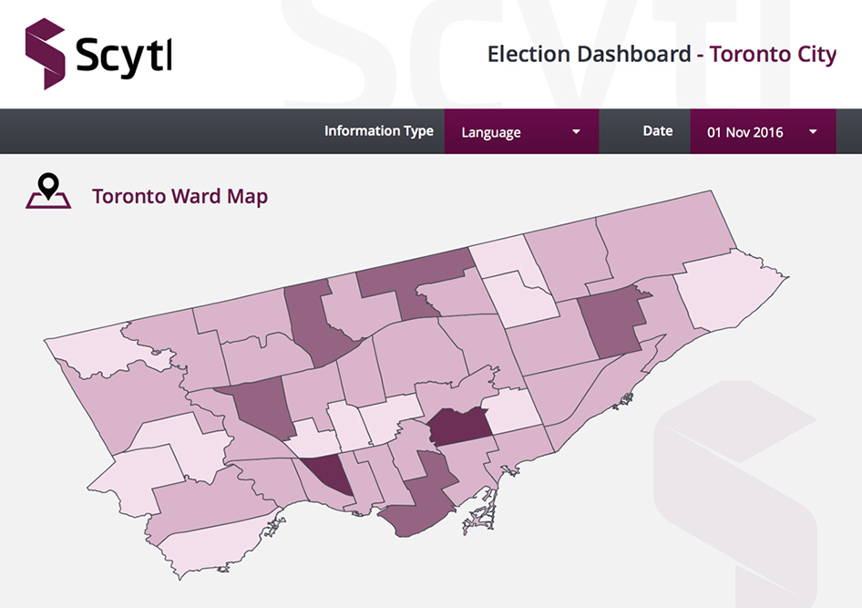 Election of Toronto map dashboard example