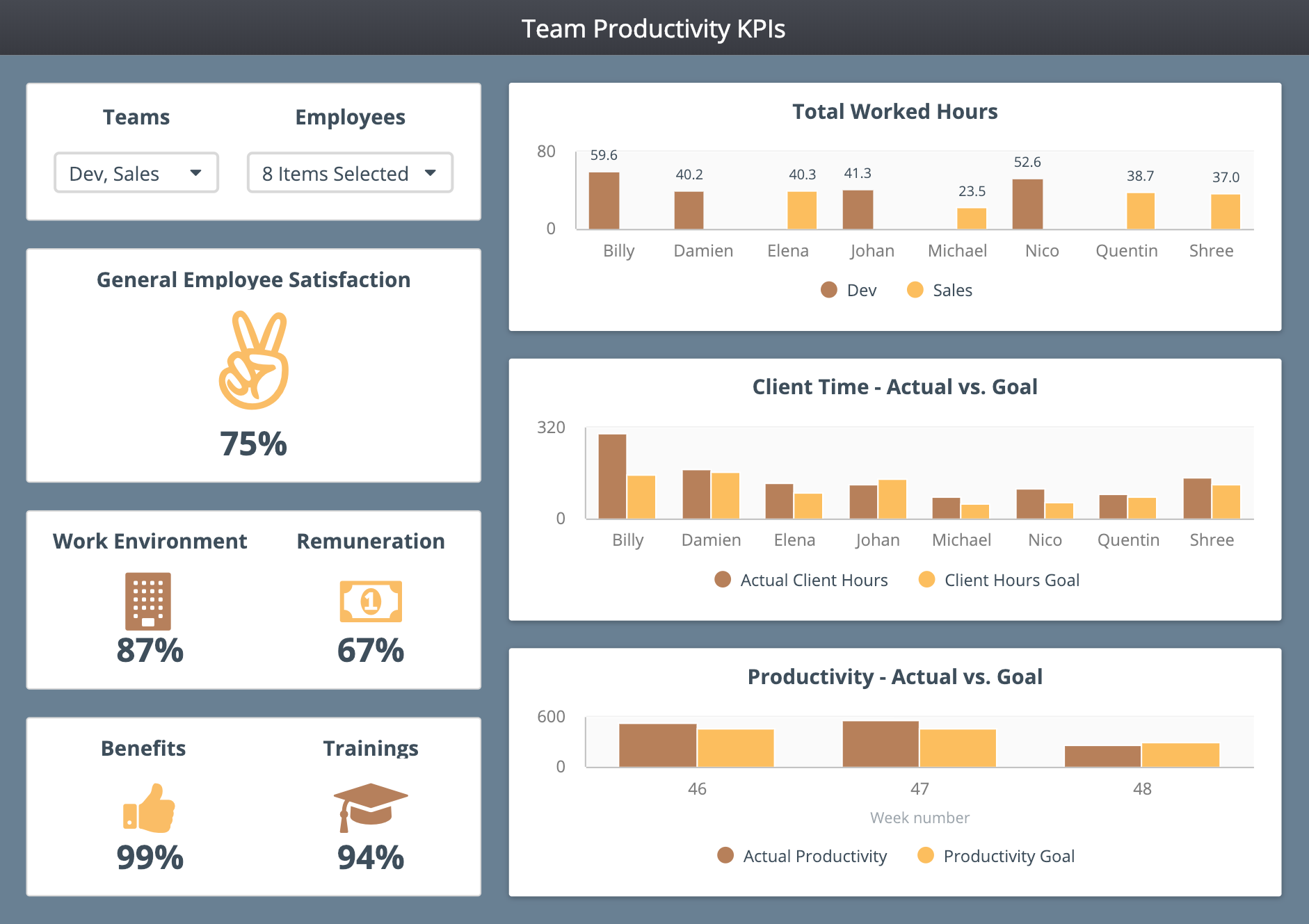 Team Productivity dashboard example and template