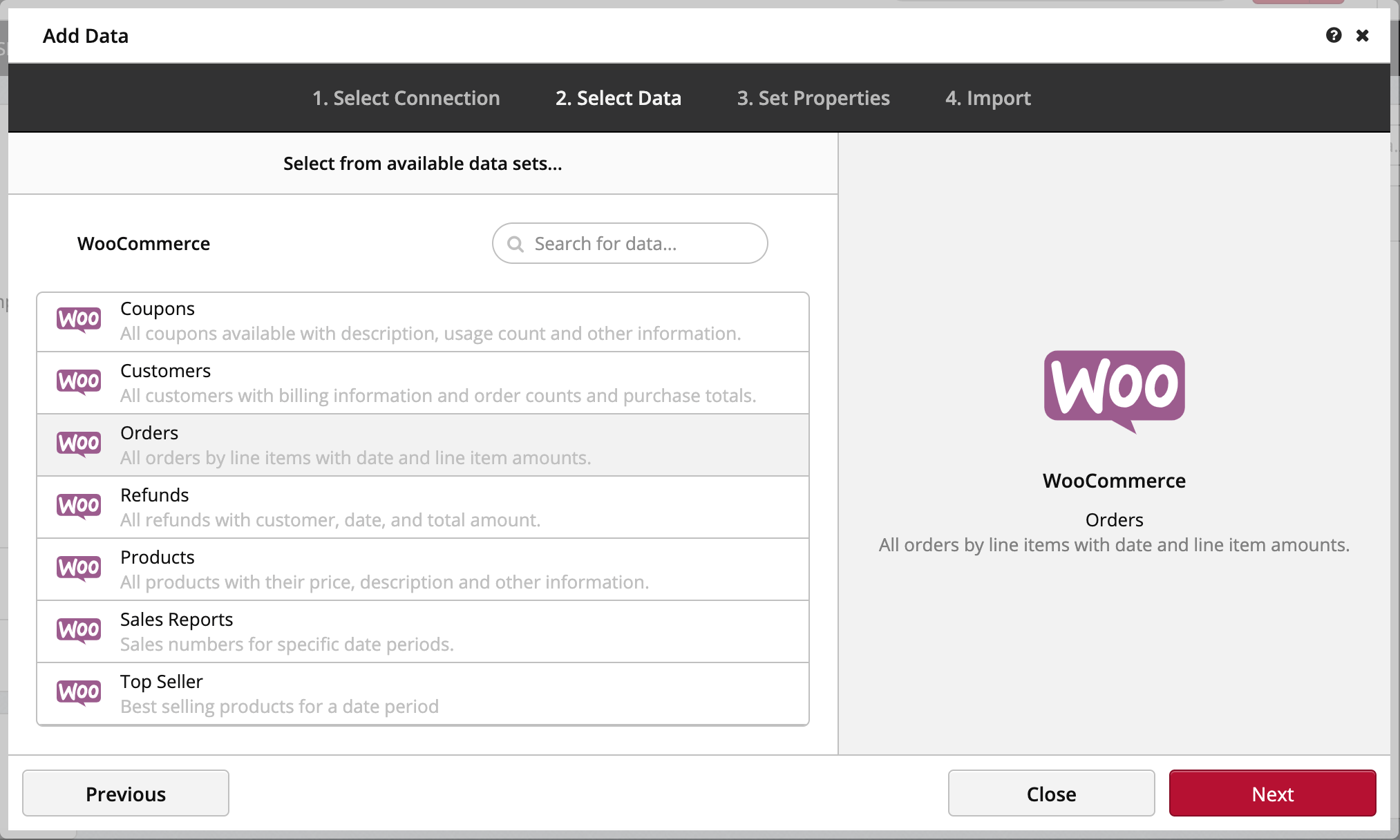 Choose Dataset Woocommerce Clicdata