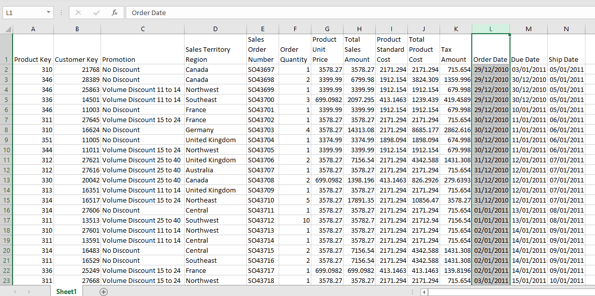 Excel Table Raw Data