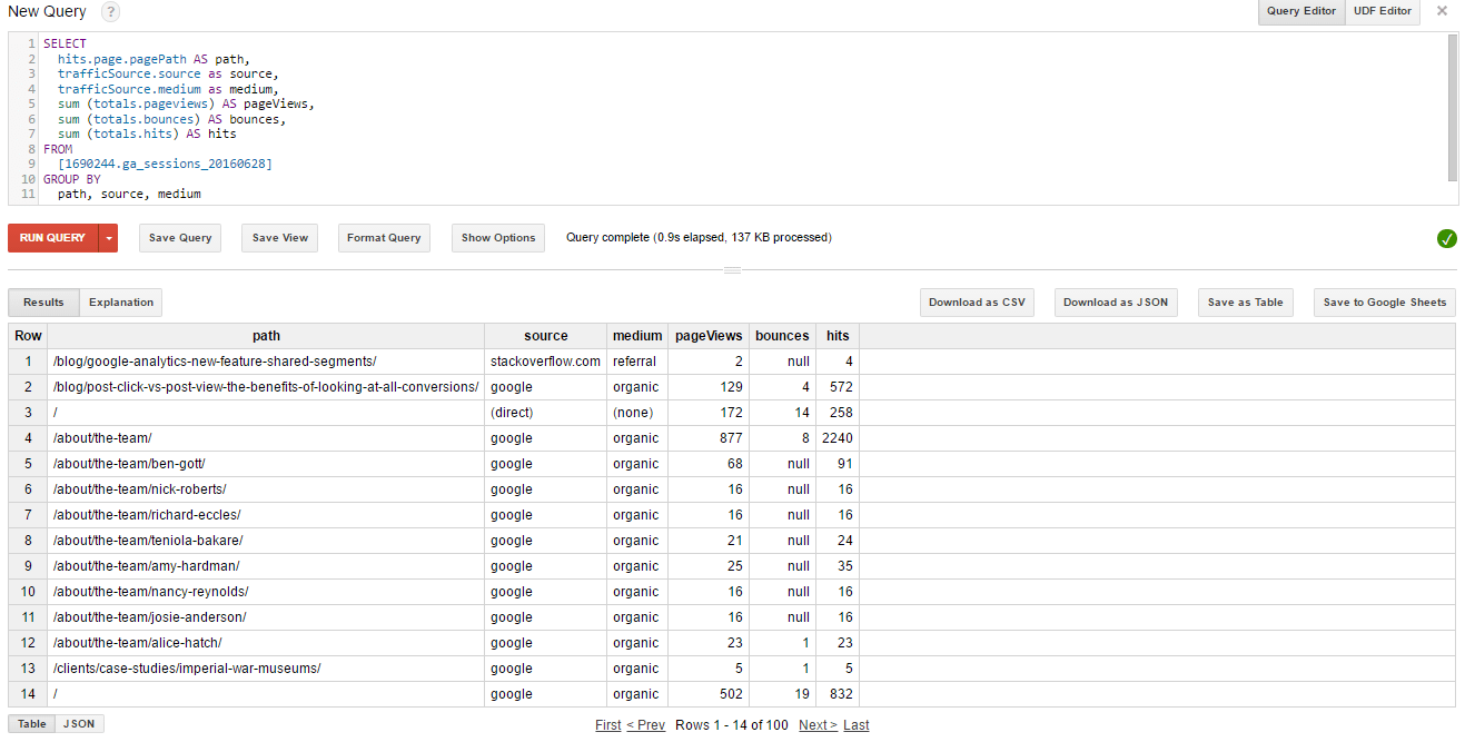 Google Bigquery Interface