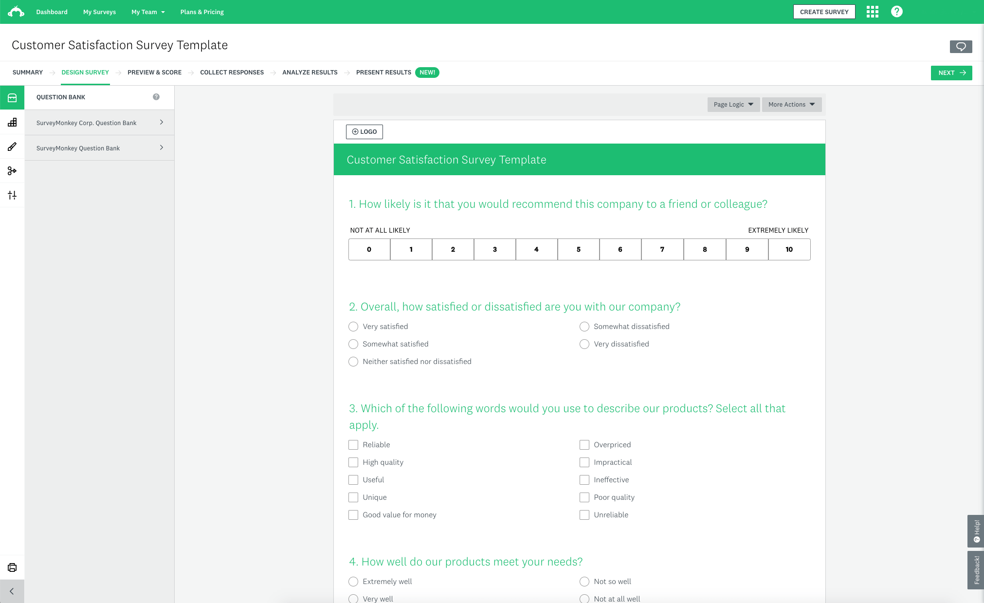 Surveymonkey Interface