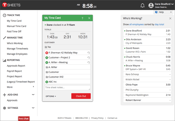 Tsheets Interface