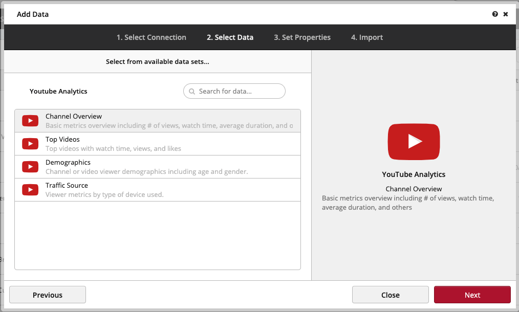 Connecting Youtube Clicdata