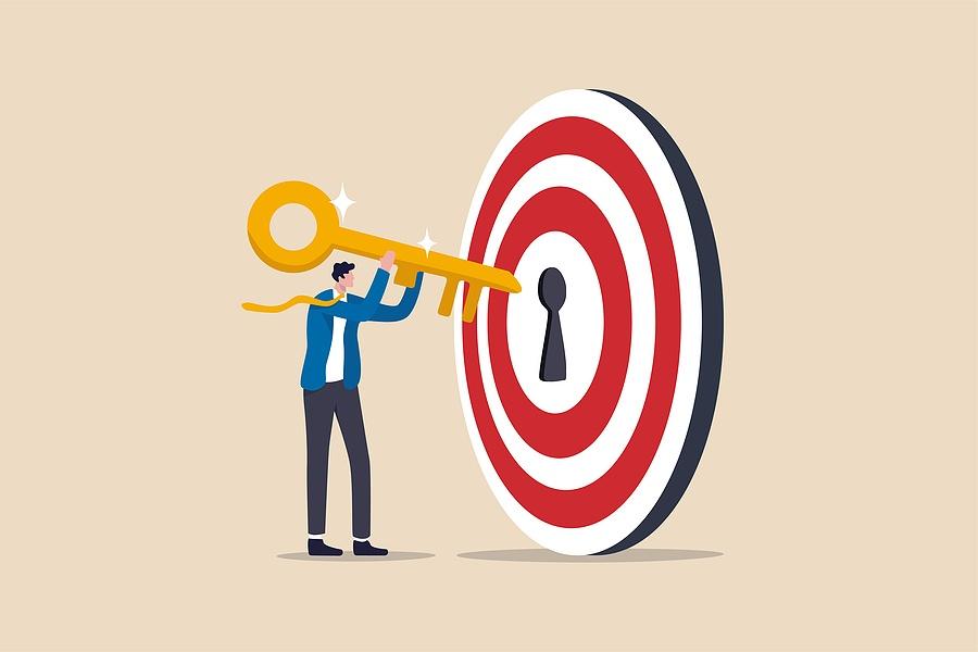 key to success and achieve business target, kpi, career achievem