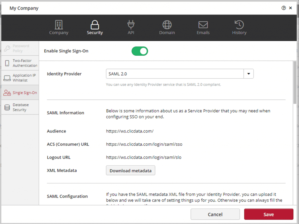 Clicdata Saml Configuration