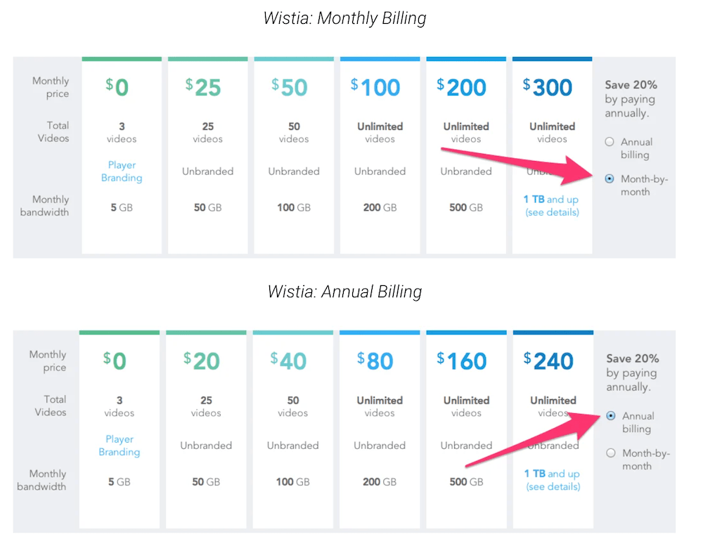 Monthly Yearly Subscription Pricing