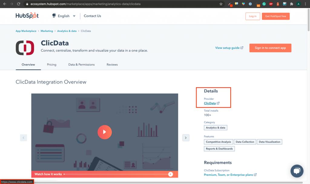 Backlink Example Hubspot App Listing