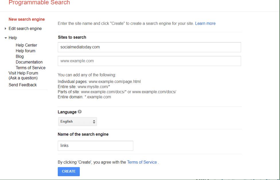 Google Custom Search Engine Example