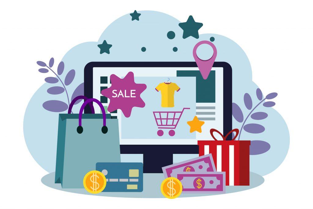 online store, eshop, internet selling, online marketing. flat de