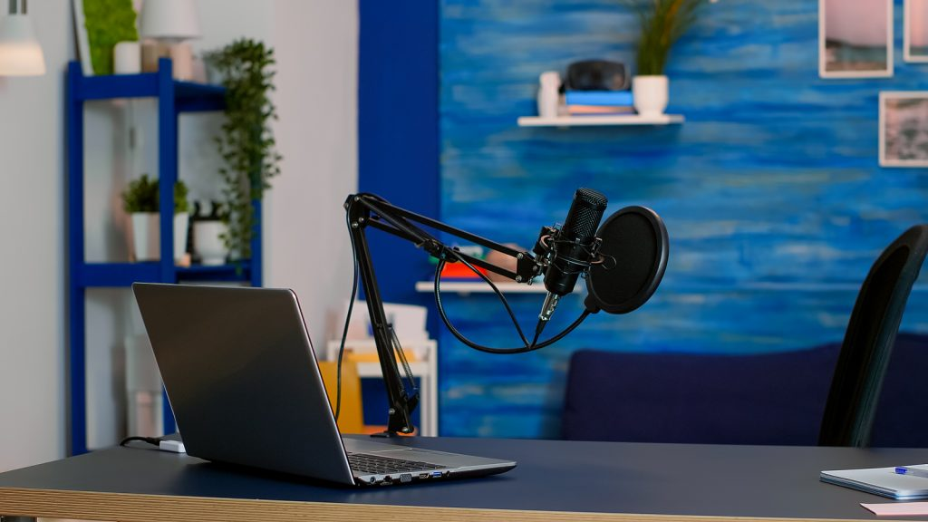 online live podcast studio desk with microphone in home studio o